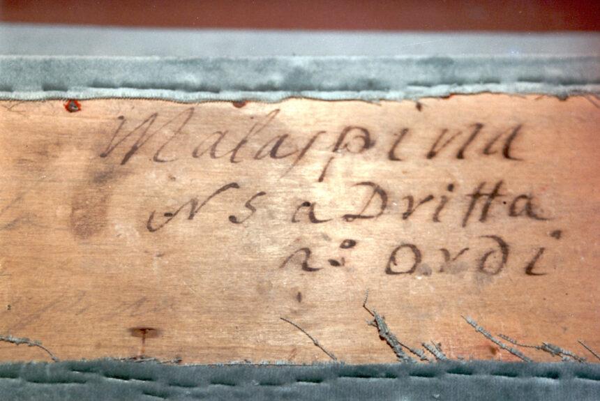 Marchesi Malaspina - Nel corso dei restauri ultimati nel 1994, sollevando la tavola posta sul parapetto, è stata scoperta questa scritta indicante il numero del palco ed il proprietario. L'informazione è databile tra gli anni 1876 e 1882.