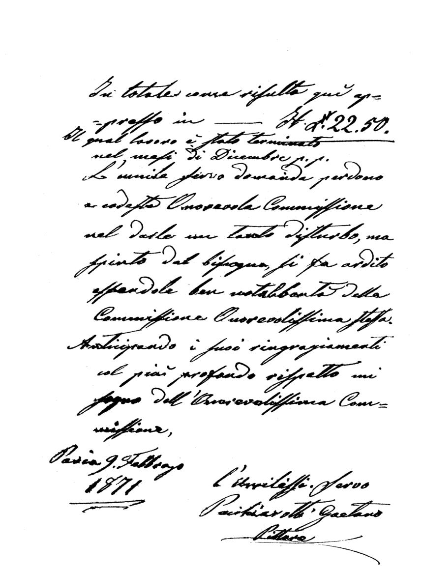 Civico Teatro Fraschini – lettera originale del pittore